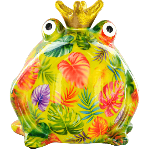 Freddy The Frog Green Leaves Ceramic Money Box